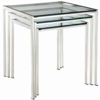 Modway Generic Nimble Modern 3-Piece Nesting Table Set in Silver