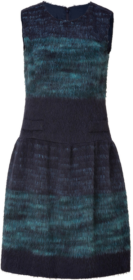 Anna Sui Navy and Turquoise Wool-Blend Dress