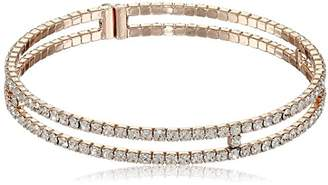 Gap Oroclone 14k Gold Plated Crystal Two-Row Bangle Bracelet
