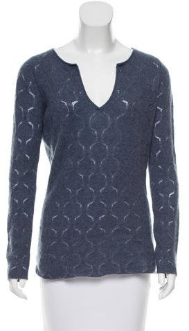 AlludeAllude V-neck Eyelet-Accented Sweater