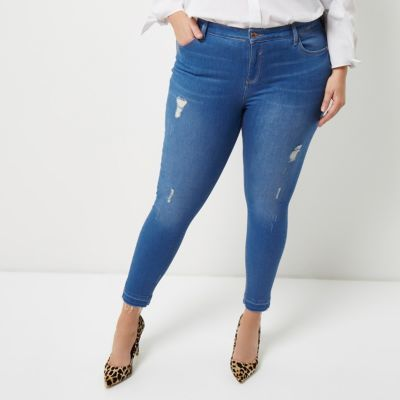 River IslandRiver Island Womens Plus blue Amelie ripped super skinny jeans