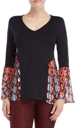 Save The Queen Mixed Media Pleated Bell Sleeve V-Neck Top
