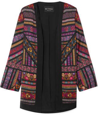 Etro Embroidered Printed Satin Jacket - Black