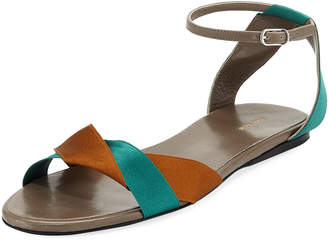 The Row Colorblock Ribbons Flat Sandals