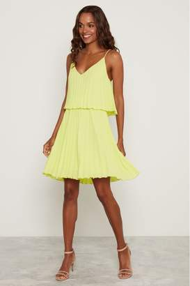 F&F Womens Lime Pleated Swing Dress - Yellow