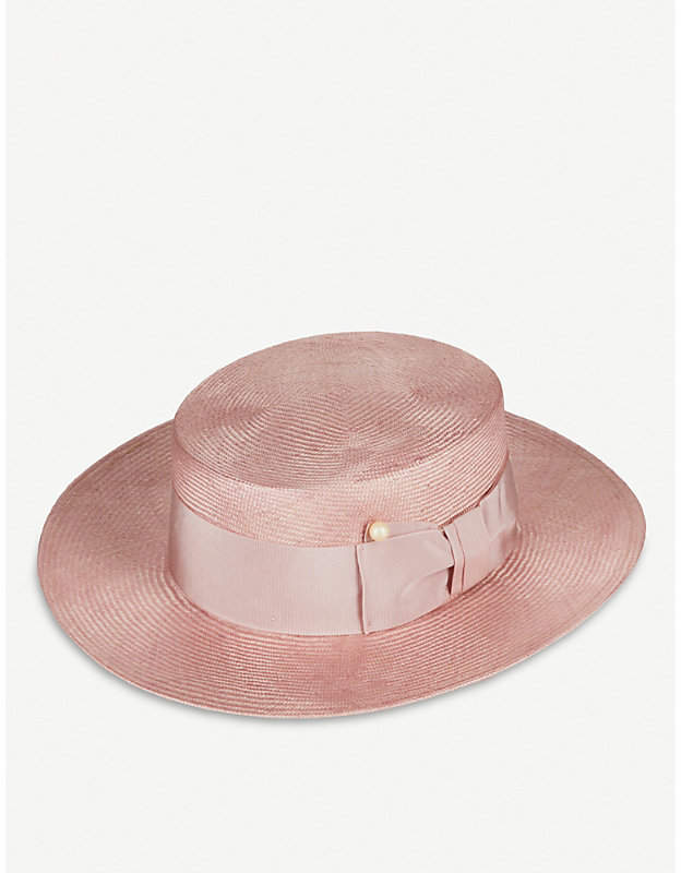 Viv faux pearl-detail straw boater hat