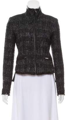 Theyskens' Theory Leather Trim Tweed Jacket