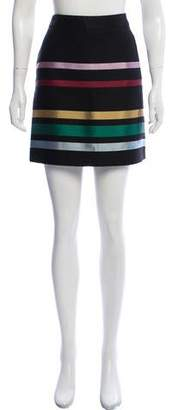 Alexander Lewis Wool-Blend Striped Skirt