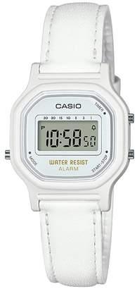 Casio Ladies' Mini White Leather Strap Digital Watch
