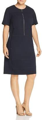 Lafayette 148 New York Plus Demi Partial-Zip Paneled Dress