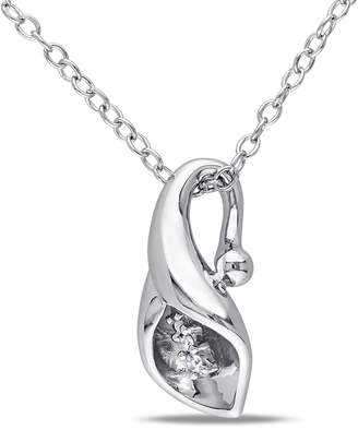 Concerto Diamond and Sterling Silver Calla Lily Flower Necklace