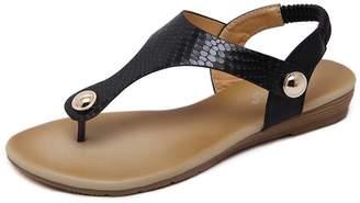 AVENBER Womens Flats Sandals Thong Flip-Flops Simple Metallic Buckle Slingback Rubber Sole Summer Beach Sandals