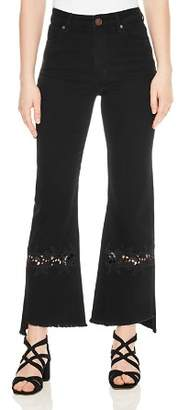 Sandro Tori Flared Lace-Inset Jeans