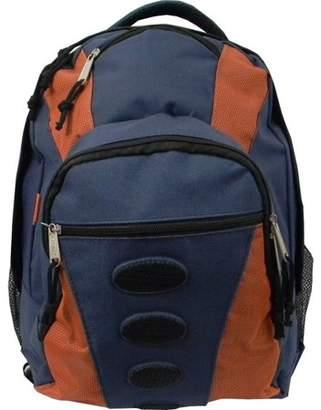 K-Cliffs Student Bookbag Medium Daily Backpack Student School Bag 16.5 inch Casual Travel Daypack w/ Padded Back, Padded handle, Organizer & Side Mesh Pockets Navy/Orange