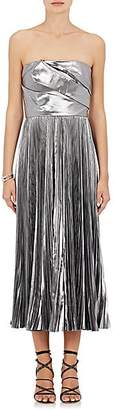 J. Mendel WOMEN'S PLEATED SATIN STRAPLESS COCKTAIL DRESS - GRAY/PEWTER SIZE 6