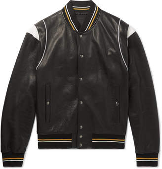 Givenchy Logo-jacquard Appliqued Leather Bomber Jacket - Black