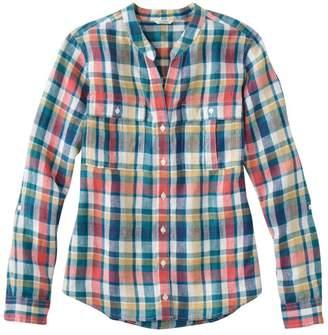 L.L. Bean L.L.Bean Women's Premium Washable Linen Roll-Tab Shirt, Long-Sleeve Plaid