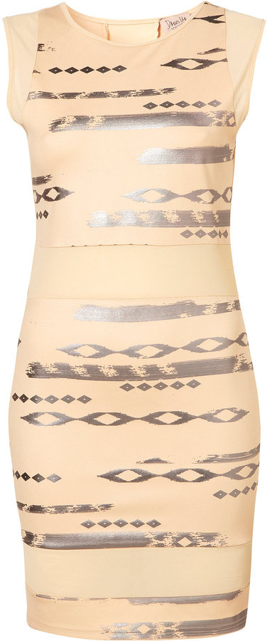Topshop Foil Print Mesh Bodycon Dress by Dress Up Topshop**