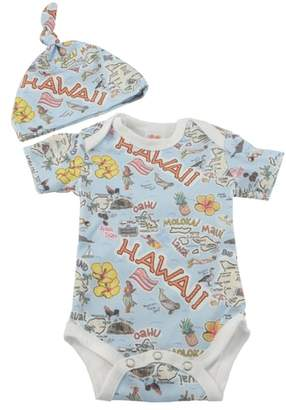 Fish Kiss State Map Print Organic Cotton Bodysuit & Hat