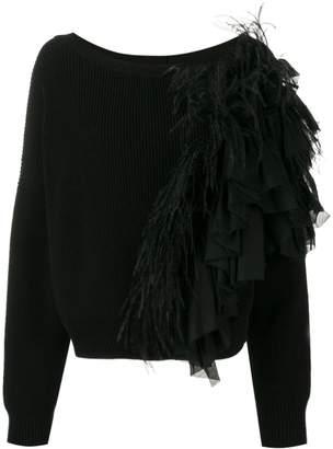 No.21 feather appliqué sweater