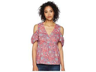 Lucky Brand Printed Cold Shoulder Top Women's Clothing