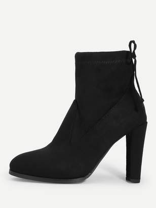 a8700ce489 Shein Lace Up Back Chunky Heeled Boots