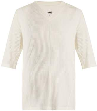 MM6 MAISON MARGIELA V-neck ribbed-jersey T-shirt
