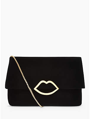 Lulu Guinness Half Covered Lip Issy Velvet Cross Body Bag, Black