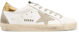 Golden Goose Superstar Distressed Leather And Suede Sneakers - White