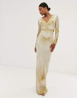 City Goddess long sleeve all over embellished patterned maxi dress