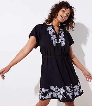 LOFT Plus Floral Embroidered Split Neck Dress