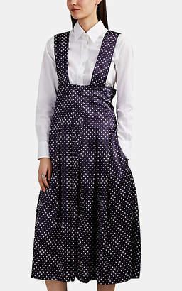 Comme des Garcons Women's Polka Dot Satin Pleated Apron Dress - Navy