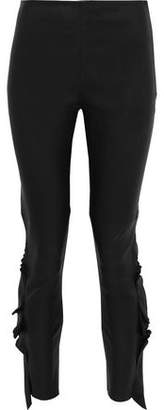 IRO Cardash Ruffle-Trimmed Leather Skinny Pants