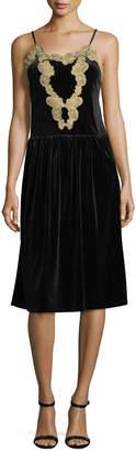 Romeo & Juliet Couture Velvet Pleated-Skirt Slip Dress