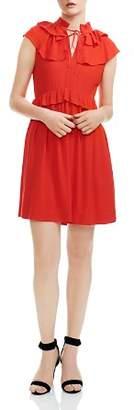 Maje Rutta Ruffled Crepe Mini Dress