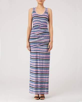 Nicole Miller Jungle Stripe Tidal Pleat Maxi
