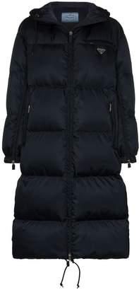 Prada hooded long puffer coat