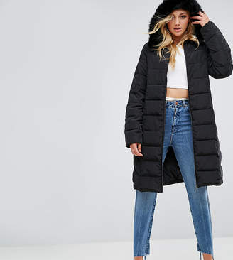 Asos Tall TALL Longline Puffer Coat with Faux Fur Trim Hood