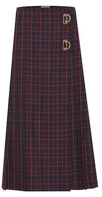 Burberry Checked wool midi skirt
