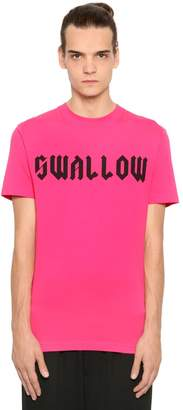 McQ Swallow Printed Cotton Jersey T-Shirt
