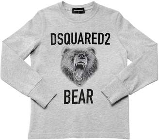 DSQUARED2 Bear Cotton Jersey Long Sleeve T-Shirt