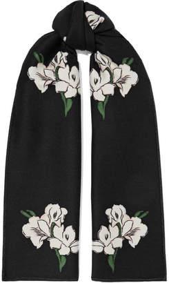 Alexander McQueen Wool And Silk-blend Jacquard Scarf - Black