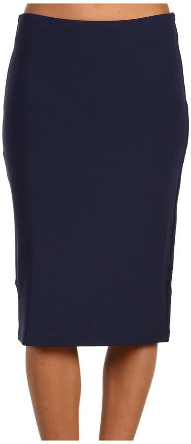 Red Dot - Jackie Jersey Double Pencil Skirt (Dress Blue) - Apparel