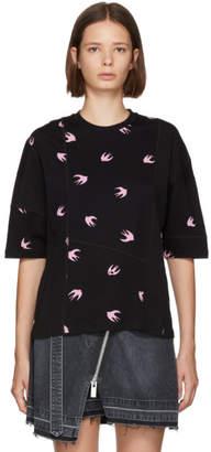 McQ (マックキュー) - McQ Alexander McQueen ブラック & ピンク スワロー エルゴノミック T シャツ