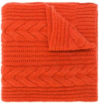 N.Peal wide cable scarf