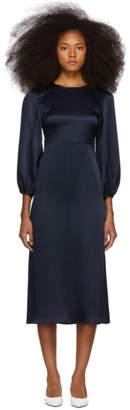 Mansur Gavriel Navy Silk Bishop Dress