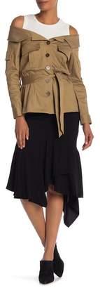 Nicole Miller Solid Handkerchief Hem Skirt