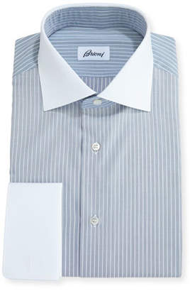 Brioni Striped Dress Shirt with Contrast Collar & Cuffs, Navy