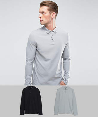 Asos Pique Long Sleeve Polo With Button Down Collar 2 Pack Save