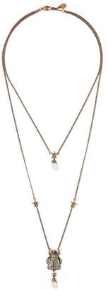 Alexander McQueen Gold-tone, Swarovski Crystal And Faux Pearl Necklace - one size